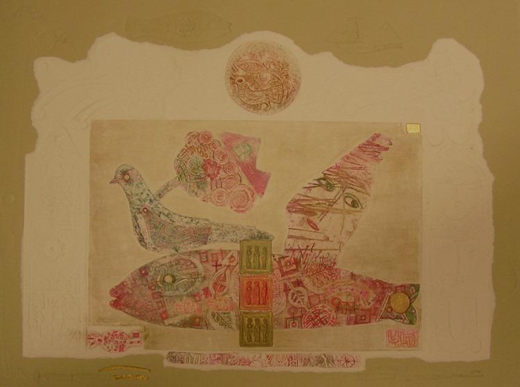 """"""" PAMIĘĆ""""  ,  2011,  60x80, akwaforta , mieszana technika , papier"""